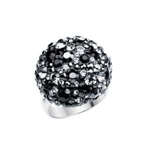 Sterling Silver Round Crystal Black Dome Necklace